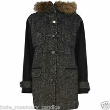 River Island Tweed Winter Coat UK 12 fluffy Hood Black Sleeve Polyester/Wool Mix