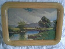 Vintage 1950s Tin Metal Serving TV Tray With Frederick Ogden Landscape Painting