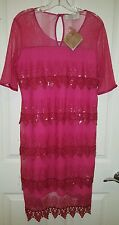 Badgley Mischka American Glamour Tiered Formal Fuscia  Dress Size L NEW