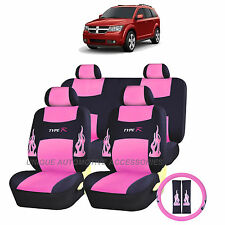 PINK AND BLACK FLAMES COMPLETE SEAT COVERS 13PC SET for DODGE 1500 2500