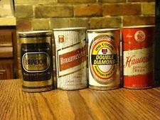 4 METAL BEER CANS BRADOR MOLSON DOUBLE DIAMOND IND COOPE HAUENSTEIN, BRAUMEISTER