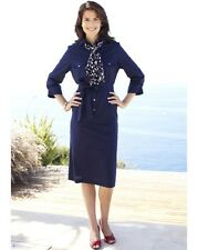 "Ladies Safari-Style Dress Button Detail & Belt - Navy - Length 43"" - Size 18-NEW"