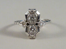 Damenring - Art Déco - Brillanten + Diamantrosen - ca. 0,40ct - 14K Weißgold