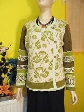 GUDRUN SJODEN GREEN PATTERNED CARDIGAN SZ LGE
