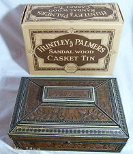 SUPERB RARE BOXED VINTAGE HUNTLEY & PALMERS BISCUITS TIN SANDALWOOD CASKET 1924