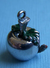 Vintage enamel worm in an apple sterling charm