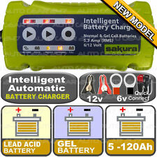 12v 6v 5.3A Automatic Intelligent Smart Lead Acid Gel 5-120Ah Battery Charger