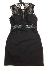 Hot Miami Styles Black Lace Accent Padded Dress