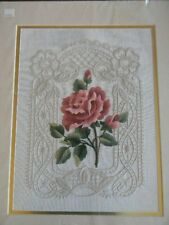 Completed Elsa Williams Crewel Embroidery Victorian ROSE LACE on Linen JCA 16x20