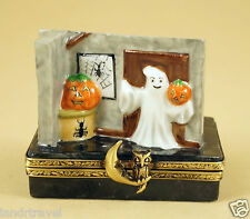 NEW FRENCH LIMOGES BOX HALLOWEEN GHOST COMING THROUGH THE WALL W JACK'O LANTERN