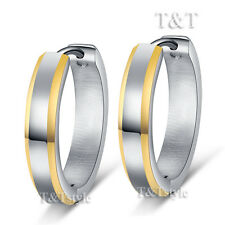 T&T Stainless Steel Gold Beveled Stripe Huggie Earrings Extra Large 21mm (EG41)