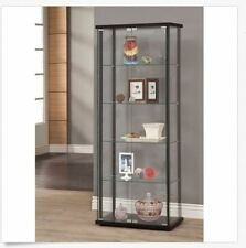 Curio Cabinet Glass Display Case Furniture Showcase Storage Shelves Modern New