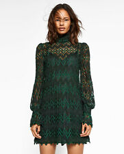 BNWT ZARA GREEN LONG SLEEVE LACE DRESS SIZE L