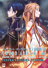 DVD Sword Art Online Season 1 + 2 Complete Box Set TV 1-49 End English Version