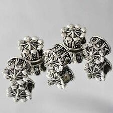 5pcs Silver clear crystal Crown large hole Beads Fit European Charm Bracelet