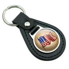 Vintage American Flag Black Leather Metal Keychain Key Ring
