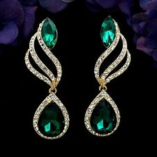 18K Gold Plated GP Green Crystal Rhinestone Chandelier Drop Dangle Earrings 7871