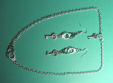 "50 Shades of Grey Handcuffs & Key Chain 18"" Necklace & Earrings Unwanted Gift"