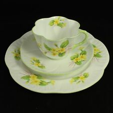 SHELLEY Teacup TRIO, PRIMROSE #13430, Yellow Flowers Green Trim, DAINTY SHAPE