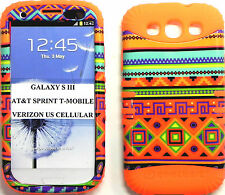 ROCKER SILICONE RUBBER+COVER CASE SKIN SAMSUNG GALAXY S3 COLORFUL AZTE