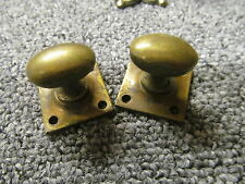 Pair of  Reclaimed Brass Oval Screw-on  Doorknobs Vintage/Antique   -P104-