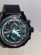 Diesel Men's Chronograph Iridescent Crystal Double Down Black Strap Watch DZ4311