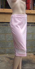BNWT UK sz 8 Superb Skirt Below Knee Pull on Pastel Pink with white Mesh Band
