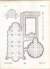 Gothic Treves Notre Dame Ground Plan Of Dome Crypt Cloisters Chapterhouse