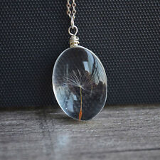 Crystal Ball Real Dandelion Seed Wishing Wish Necklace Long Silver Chain EFC