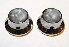 Guitar Parts METAL TOPHAT Skirt KNOBS - BLACK PEARL TOP - Set of 2 - CHROME
