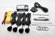 BLACK colour Reverse Parking 4 Sensor Aid Kit with Audio Buzzer Alarm Beeper