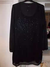 M&Co black fully lined tunic dress with sheer sleeves.Size 18.New.
