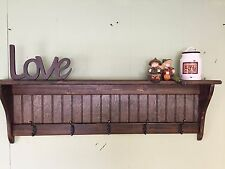 Wood Coat Rack Wall Shelf Country Dark Wood Wall Display Rack