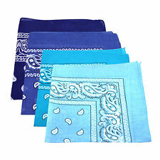4 x Paisley Bandana Scarf 100% Cotton (Baby, Sky, Royal and Navy Blue)