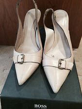 LADIES BOSS  HUGO BOSS BEIGE LEATHER SLING BACKS SIZE 38  GOOD CONDITION