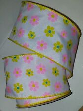"SPRING RIBBON - WHITE W/PINK/YELLOW FLOWER PATTERN WIRED EDGE - 2.5"" X 25' - #15"