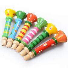 1Pc  Wooden Trumpet Musical Instrument Development Toy For Baby Children Random