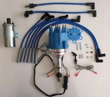 small cap FORD INLINE 6 170-200-250 Blue HEI Distributor,CHROME COIL, plug wires