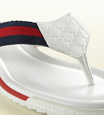 100% AUTHENTIC NEW WOMEN GUCCI WHITE BEACH WEB THONG SANDALS US 7.5
