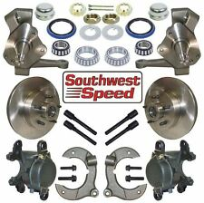 """NEW STREET ROD FRONT BRAKE & 2"""" DROP SPINDLE KIT,5X4.50"""" HUBS,ROTORS,CALIPERS"""