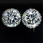 18K White Gold GP Austrian Swarovski Crystal Diamond Zircon Earrings Ear Stud V