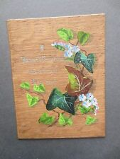 ANTIQUE Christmas Greetings Card Hand Painted Forget Me Nots & Ivy on Wood