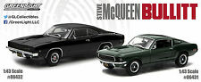 1968 DODGE CHARGER R/T & FORD MUSTANG STEVE MCQUEEN BULLITT SET 1/43 GREENLIGHT