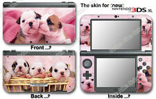 Bull Dog Puppy Pink Skin Vinyl Sticker Cover Decal #1 for NEW Nintendo 3DS XL