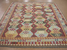 8x10 Persian Tribal Style Afghan Hand Woven Flat Kilim New Wool Red Rug Carpet