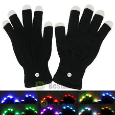 One Pair LED Rave Flashing Gloves Glow 7 Mode Light Up Finger Lighting Black New