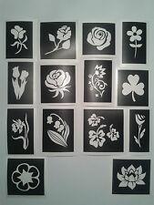 30 x fleur  pochoirs à thème pour les tatouages paillettes