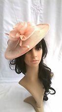 NEW  NUDE (pink tone)SINAMAY FASCINATOR HAT.Shaped saucer disc,Wedding..races