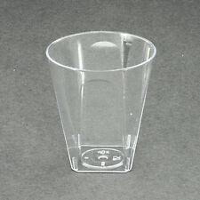 100 x Clear Square Shot Glasses Disposable Plastic 56ml/2oz - Party and Wedding