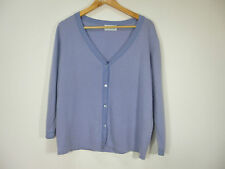 Brora pure cashmere vintage lilac stripy edged cardigan size 14 or L
